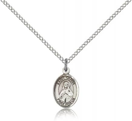 "Sterling Silver St. Olivia Pendant, Sterling Silver Lite Curb Chain, Small Size Catholic Medal, 1/2"" x 1/4"""