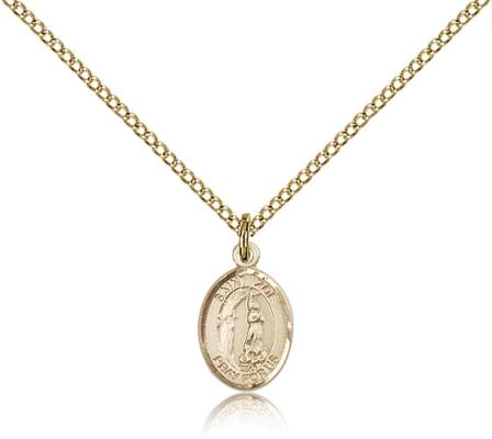 "Gold Filled St. Zoe of Rome Pendant, Gold Filled Lite Curb Chain, Small Size Catholic Medal, 1/2"" x 1/4"""