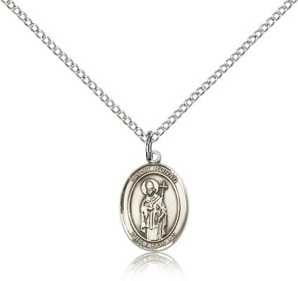 "Sterling Silver St. Ronan Pendant, Sterling Silver Lite Curb Chain, Small Size Catholic Medal, 1/2"" x 1/4"""