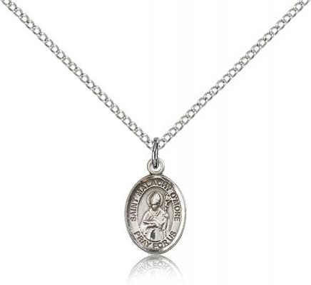 "Sterling Silver St. Malachy O'More Pendant, Sterling Silver Lite Curb Chain, Small Size Catholic Medal, 1/2"" x 1/4"""