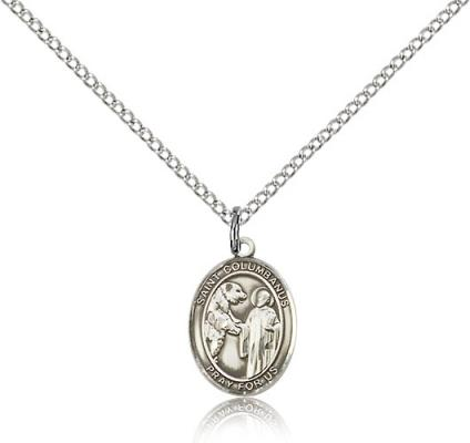 "Sterling Silver St. Columbanus Pendant, Sterling Silver Lite Curb Chain, Small Size Catholic Medal, 1/2"" x 1/4"""