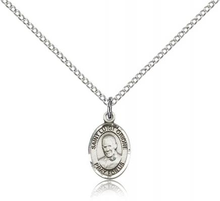 "Sterling Silver St. Luigi Orione Pendant, SS Lite Curb Chain, Small Size Catholic Medal, 1/2"" x 1/4"""