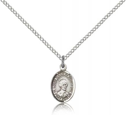"Sterling Silver St. Louis Marie De Montfort Pendan, Sterling Silver Lite Curb Chain, Small Size Catholic Medal, 1/2"" x 1/4"""