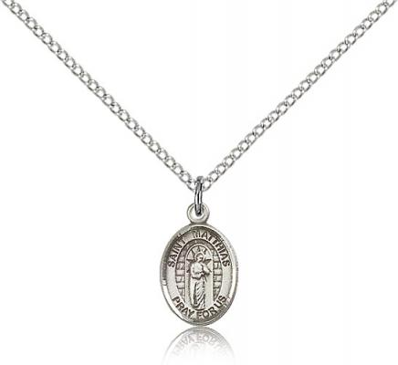 "Sterling Silver St. Matthias the Apostle Pendant, Sterling Silver Lite Curb Chain, Small Size Catholic Medal, 1/2"" x 1/4"""