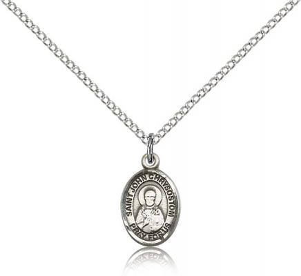 "Sterling Silver St. John Chrysostom Pendant, SS Lite Curb Chain, Small Size Catholic Medal, 1/2"" x 1/4"""