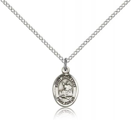 "Sterling Silver St. John Licci Pendant, SS Lite Curb Chain, Small Size Catholic Medal, 1/2"" x 1/4"""