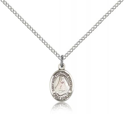 "Sterling Silver St. Rose Philippine Pendant, SS Lite Curb Chain, Small Size Catholic Medal, 1/2"" x 1/4"""