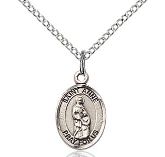 "Sterling Silver St. Anne Pendant, SS Lite Curb Chain, Small Size Catholic Medal, 1/2"" x 1/4"""