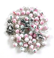 Pink Flower Ceramic Bead Rosary