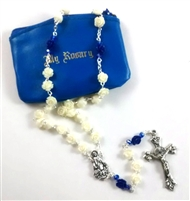 White Blue Rose Bead Rosary