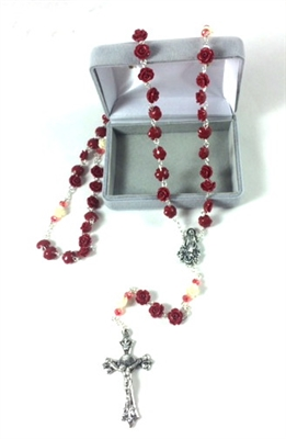 Red and Cream Rose Petal Rosary 95133-07-CE1