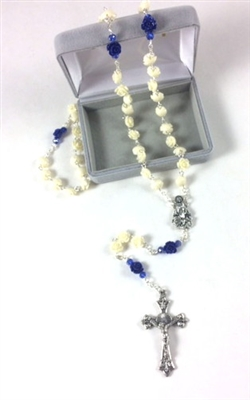 Cream and Blue Rose Petal Rosary 95133-130-CEI