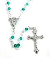 Children's Green Crystal Aurora Borealis Bead Rosary