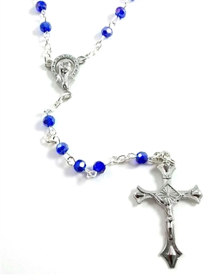 Children's Blue Glass Aurora Borealis Bead Rosary