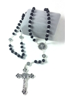 Saint Benedict Black Glass Bead Rosary