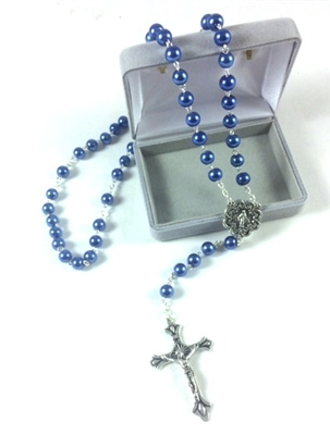 Blue Glass Bead Miraculous Rosary 99023705