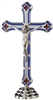 Blue/Red Epoxy Inlay Standing Crucifix 125BLU-NIK