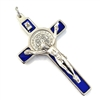 Blue Enamel Saint Michael Crucifix