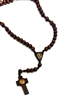 Our Lady of Guadalupe Brown Cord Wood Bead Rosary