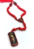 Divine Mercy Red Cord Wood Bead Rosary