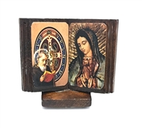 Saint Benedict & Guadalupe Wood Standing Adhesive Plaque