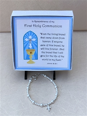 First Communion Natural Stone with Swarovski Austrian Crystal Bead Bracelet