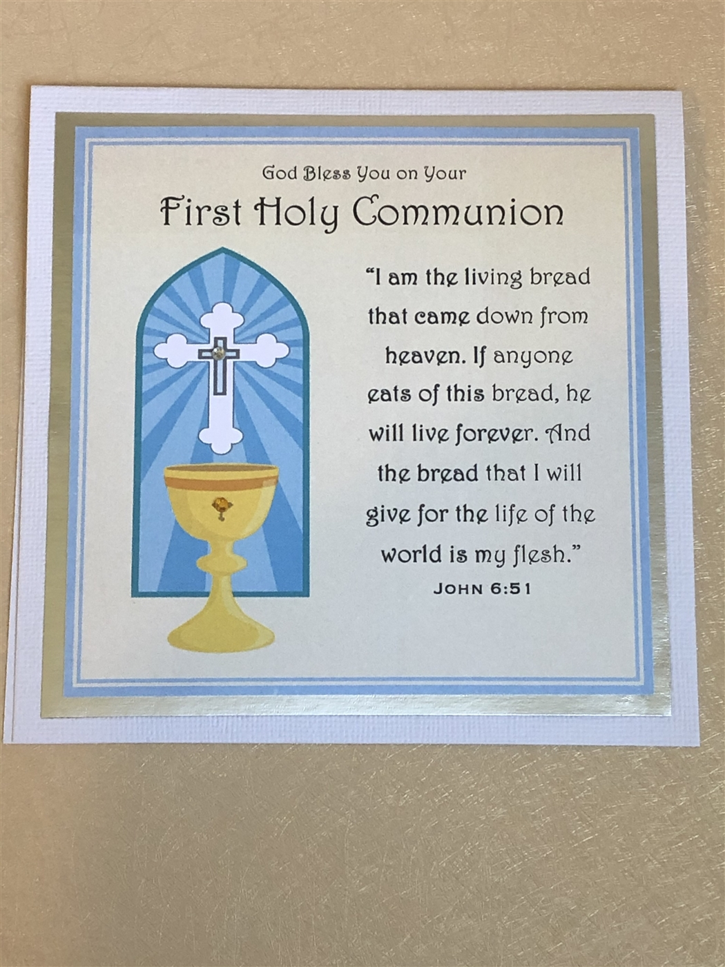 On Your First Communion Handmade Religious Card Religious Greeting Card Religious Card First Communion Card
