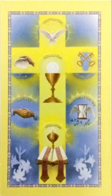 7 Sacrament Paper Holy Card BC350