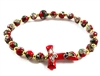 Red Cloisonne Bead Tau Cross Rosary Bracelet