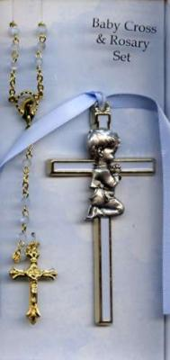 Baby Cross and Rosary Enameled Set