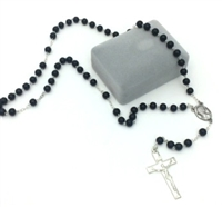 Black Wood Rosary with Silver Crucifix
