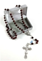 Silver Plated Genuine Brown Cocoa Bead Rosary