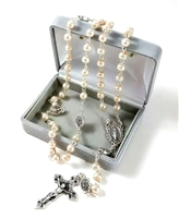 Imitation Pearl Bead Miraculous Medal Rosary SH-DR-CRMMIR