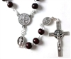 Saint Benedict Brown Wood Bead Rosary From Shomali