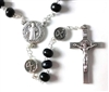 Saint Benedict Black Wood Bead Rosary from Shomali