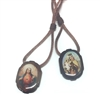 Large Wood Oval Sacred Heart of Jesus and Our Lady of Mount Carmel Scapular