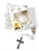 First Communion Glass Bead Rosary with Gift Box Girl