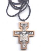 San Damiano Olive Wood Cross Necklace
