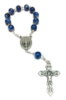 Blue Glass Bead One Decade Rosary