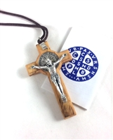 Olive Wood St. Benedict Crucifix on Cord FL-Z 107