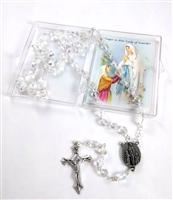 CLEAR GLASS BEAD ROSARY WITH RELIC TOUCHED TO LOURDES GROTTO