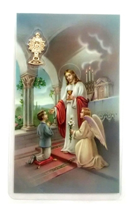 Boy First Communion Holy Card with Medal