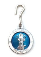 Saint Francis White/Blue Enamel Pet Medal