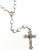 Blue Heart Shaped Bead Rosary with Five-Way Metal Crucifix