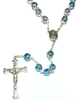 Italian Double Capped Blue Bead Rosary R774BL