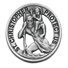 Round Saint Christopher Cut Pewter Visor Clip