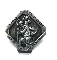 Diamond Shaped Solid Pewter Saint Christopher Visor Clip