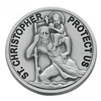 Round Solid Saint Christopher Pewter Visor Clip