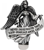 Never Drive Faster Than Your Guardian Angel Can Fly Pewter Visor Clip