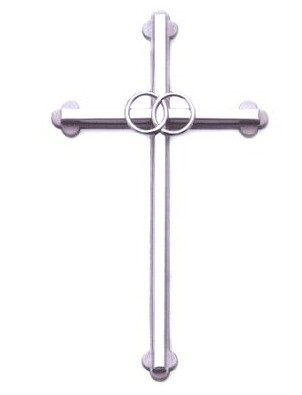 6inch Silver Wedding Wall Cross with Ring GS46053